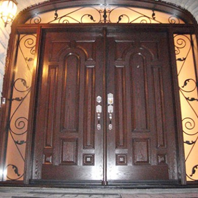 8 Foot Fiberglass Doors, 8 Panel Design with 2 Iron Arts Side Lites and Transom Installed by Fiberglass Doors Toronto