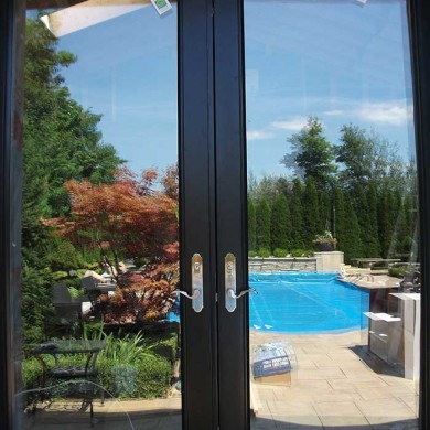 8-Foot-Fiberglass Doors, Back-Yard-French-Doors-with-Multi-Point-Locks-Installed- by Fiberglass Doors Toronto in-Richmondhill