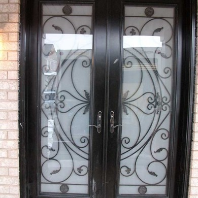 8-Foot-Fiberglass Doors, Exterior Double-front-Doors-Milan-Design-with-Multi-Point-Locks-Installed- by Fiberglass Doors Toronto in-Vaughan