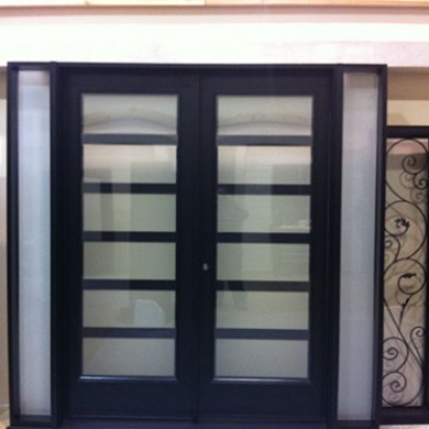 8 Foot Fiberglass Doors, Exterior Modern Doors with 2 Side Lites and Frosted Glass Installed by Fiberglass Doors Toronto