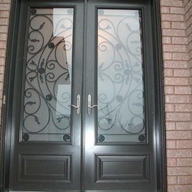 8 Foot Fiberglass Doors, Milan-Design-front-Exterior Door-with-Multi-Point-Locks-installed- by Fiberglass Doors Toronto in-Mississauga