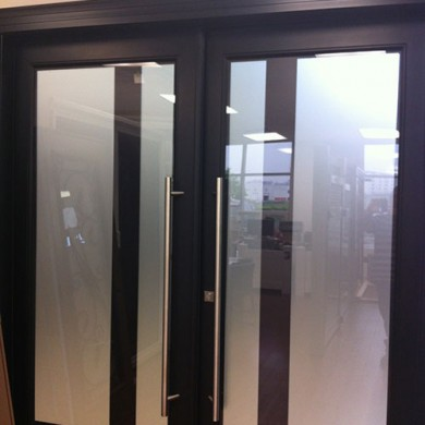 8 Foot Fiberglass Doors, Modern Doors with Frosted Glass and Multi Point Locks System Installed by Fiberglass Doors Toronto