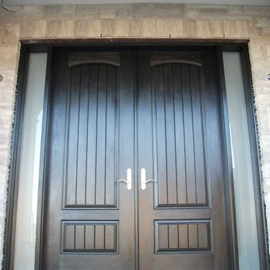 8-Foot-Fiberglass Doors, Rustic-Parliament-Exterior Doors-with-2-Frosted-Slim-Side-Lites-Installed- by Fiberglass Doors Toronto in-Maple