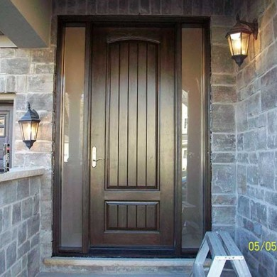 8-Foot Fiberglass Doors, Sigle Solid-Rustic Exterior Door-with-2-frosted Side-Lites-Installed- by Fiberglass Doors Toronto in-Newmarket-Ontario
