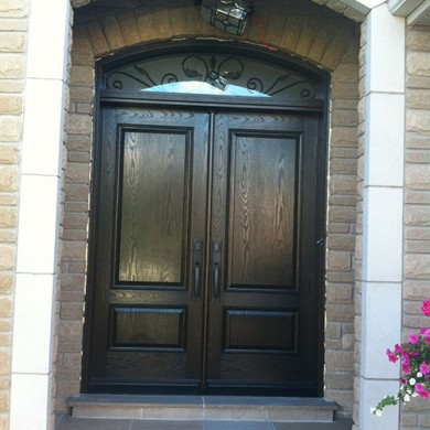 8 Foot Fiberglass Doors, Woodgrain Fiberglass Solid Double Doors with Arch iron Art Transom Installed by Fiberglass Doors Toronto