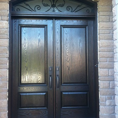 8 Foot Fiberglass Doors, Woodgrain, Solid Double Doors with Arch Iron Transom Installed by Fiberglass Doors Toronto