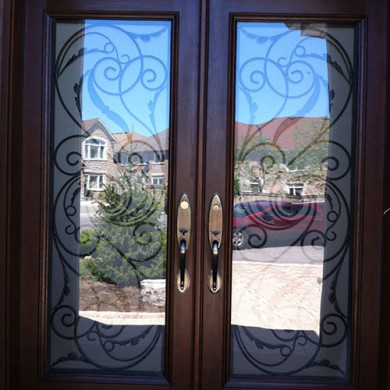 8 Foot Fiberglass Doors, Wrought Iron Woodgrain Milan Design Double Doors Installed By Fiberglass Doors Toronto