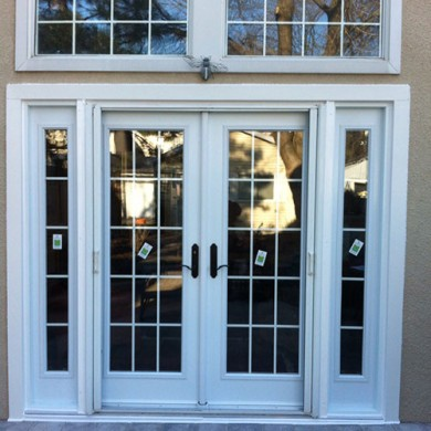 8 Foot French Fiberglass Doors with 2 Side Lites and Transom Installed by Fiberglass Doors Toronto