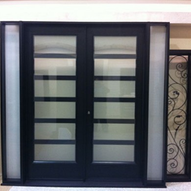 8 Foot Modern Fiberglass Doors, Exterior Double Doors with 2 Side Lites by Fiberglass Doors Toronto