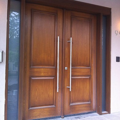 8 Foot Modern Fiberglass Doors, Exterior Wood Grain Double Doors with 2 Side Lites Installed by Fiberglass Doors Toronto