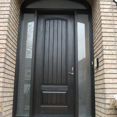 8-Foot-Single-Solid-Fiberglass-Door, Exterior Door-with-Rustic,-2-Frosted-Side-Lite Panel-&-Matching-Art-Transom by Fiberglass Doors Toronto