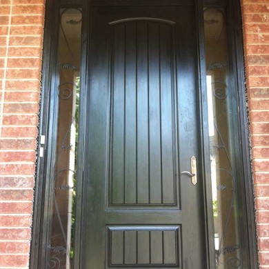 8-Foot-Single-Solid-Rustic-Exterior Fiberglass Door-with-2-iron-Art-Side-Lites-Installed- by Fiberglass Doors Toronto in-Scarborough
