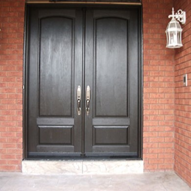9- Double Doors After Installation, Fiberglas Doors, Smooth Double Doors with Multi Point Locks, Outside View Installed by Fiberglass Doors Toronto
