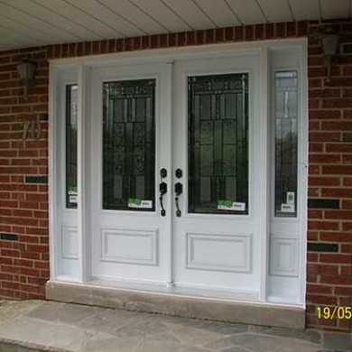 9-Smooth Entrance Fiberglass Stained Glass Design installe by Fiberglass Doors Toronto