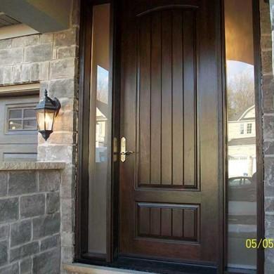 Executive Fiberglas Doors, -8-Foot-Solid-Rustic-Door-with-2-frosted-Side-Lites-Installed-in-Newmarket-Ontario by Fiberglass Doors Toronto