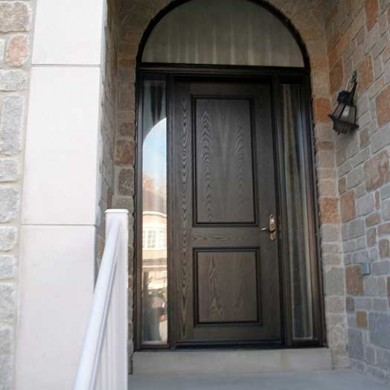 Executive Fiberglass Doors, -8-Foot-Front-Door-with-2-Glazed-Side-Lites-and-Matching-Art-Transom-Installed-in-Newmarket by Fiberglass Doors Toronto