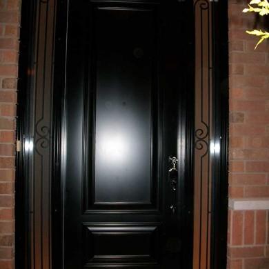 Executive Fiberglass Doors-8-Foot-Single-Solid-ront-Door-with-2-Slim-Iron-Art-Side-Lites-Installed-in-Oakville by Fiberglass Doors Toronto