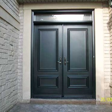 Executive Smooth Exterior Solid Fiberglass Doors with Transom installed in Thornhill by Fiberglass Doors Toronto