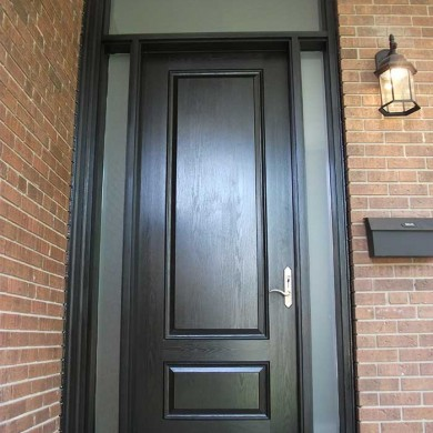 Executive Solid Single Fiberglass Front Door with 2 Frosted Side Lites and Transom by Fiberglass Doors Toronto