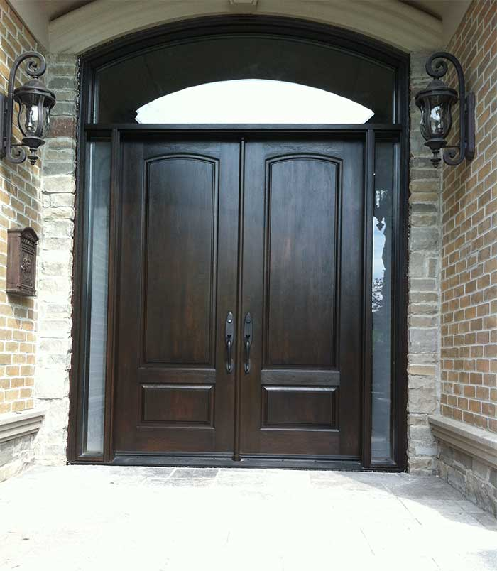Executive Woodgrain Fibergll Doors With 2 Side Liteatching Arch Transom Installed In Richmondhill Ontario