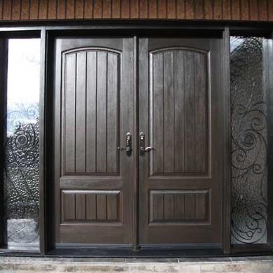 Fiberglass Door-Double Solid Fiberglass Woodgrain Front Door with Rustic and 2 Iron Art Side Lites Installed by Fiberglass Doors Toronto in Thornhill Ontario