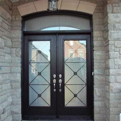 Fiberglass Door-Fiberglass Double Door Woodgrain with Iron Glass Design & Matching Arch Transom by Fiberglass Doors Toronto