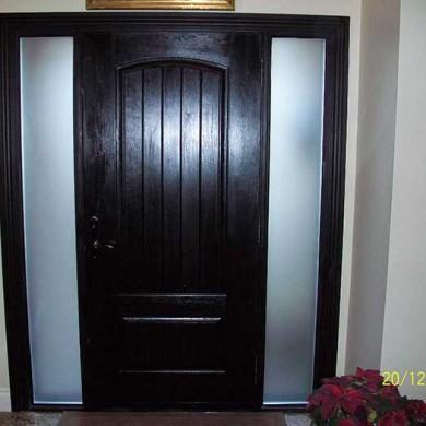 Fiberglass Door-Fiberglass Single Rustic Solid Door, Woodgrain with 2 Frosted Side Lites Installed by Fiberglass Doors Toronto in Thornhill