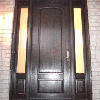 Fiberglass Door-Fiberglass Woodgrain Single Solid Front Door with 2 Side panel Lites Installed by Fiberglass Doors Toronto in Niagara Falls Ontario