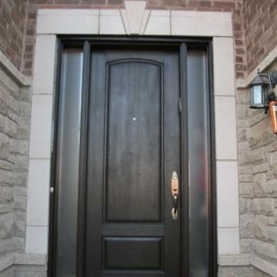 Fiberglass Door-Fiberglass Woodgrain Solid Door with 2 Frosted Side Lites Installed by Fiberglass Doors Toronto in North York