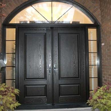 Fiberglass Door-Fiberglass Woodgrain Solid Double Door with 2 Side Lites and Beautiful Matching Arch Ransom installed by Fiberglass Doors Toronto in Burlington