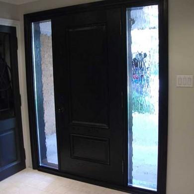 Fiberglass Door-Fiberglass Woodgrain Solid Front Door with 2 Frosted Side Lites Installed by Fiberglass Doors Toronto in Maple Ontario Inside View