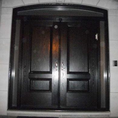 Fiberglass Door-Fiberglass Woodgrain Solid Parliament Double Door with 2 side lites installed by Fiberglass Doors Toronto