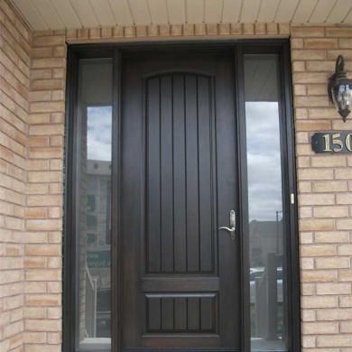 Fiberglass Door-Fiberglass Woodgrain Solid Single Door with 2 Side Lites Installed by Fiberglass Doors Toronto in Newmarket