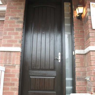 Fiberglass Door-Fiberglass Woodgrian Solid Single Rustic Front Door with Frosted side Lite Installed by Fiberglass Doors Toronto in Hamilton Ontario
