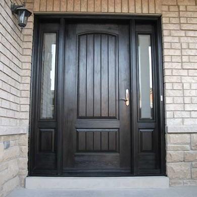 Fiberglass Door-Fiberglass woodgrain Solid Rustic Door with 2 Side lites Installed by Fiberglass Doors Toronto in Vaughan