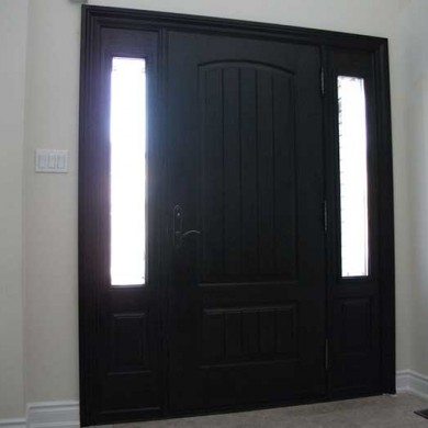 Fiberglass Door-Fiberglass woodgrain Solid Rustic Door with 2 Side lites Installed by Fiberglass Doors Toronto in Vaughan inside view