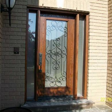 Fiberglass Door-Front Single Fiberglas woodgrain with Paris Design & 2 side Lites Installed by Fiberglass Doors Toronto in Toronto
