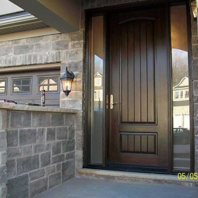 Fiberglass Door-Front Single Rustic Fiberglass Woodgrain with 2 Frosted Side Lites with Multi point Locks installed by Fiberglass Doors Toronto