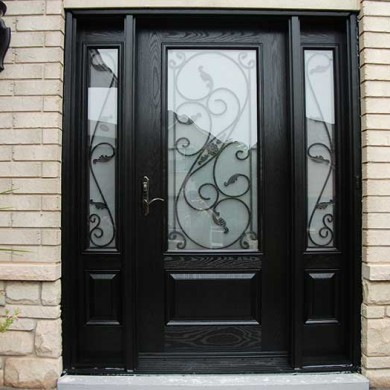 Fiberglass Door-Single Fiberglass Woodgrain Glass Design Door with 2 Iron Art Side Lites installed by Fiberglass Doors Toronto in Orillia