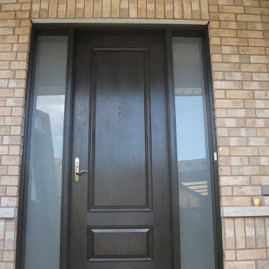 Fiberglass Door-Single Fiberglass Woodgrain Solid Door with 2 Frosted side lites Installed by Fiberglass Doors Toronto in Maple