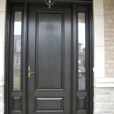 Fiberglass Door-Single Fiberglass Woodgrain Solid Door with 2 Side Lites Installed by Fiberglass Doors Toronto in Newmarket