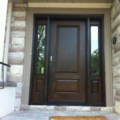 Fiberglass Door-Single Fiberglass Woodgrain Solid Door with 2 Side Lites Installed by Fiberglass Doors Toronto in Oshawa