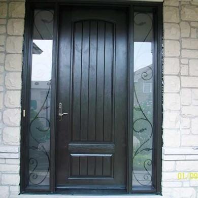 Fiberglass Door-Single Fiberglass Woodgrain Solid Rustic Door with Iron Art and 2 Side Lites installed by Fiberglass Doors Toronto