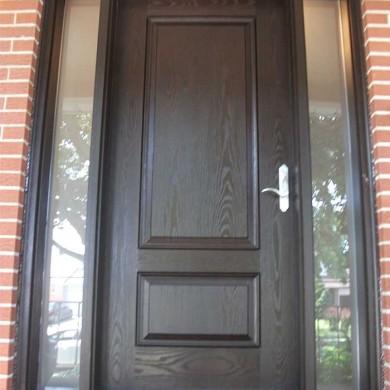 Fiberglass Door-Single Solid FIberglass Woodgrain Door With 2 Frosted side lites installed by Fiberglass Doors Toronto