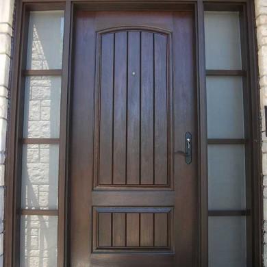 Fiberglass Door-Single Solid Fiberglass Woodgrain Door With rustic and 2 side Lites Installed by Fiberglass Doors Toronto in Richmondhill