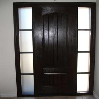 Fiberglass Door-Single Solid Fiberglass Woodgrain Door With rustic and 2 side Lites Installed by Fiberglass Doors Toronto in Richmondhill-Inside View