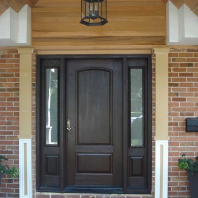 Fiberglass Door-Single Solid Fiberglass Woodgrain Door with 2 Side Lites Installed by Fiberglass Doors Toronto in Richmondhill