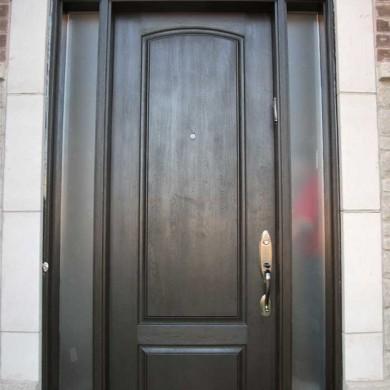 Fiberglass Door-Solid Fiberglass Woodgrain Door with 2 Frosted Side Lights Installed by Fiberglass Doors Toronto in North York