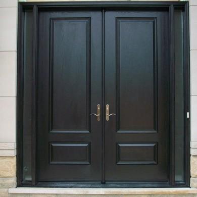Fiberglass Door-Solid Fiberglass woodgrain Doors with multi Point Locks & 2 side Lights installed by Fiberglass Doors Toronto