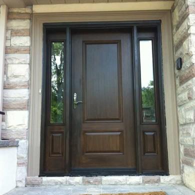 Fiberglass Door-Solid Single Woodgrain Fiberglass Door with 2 Side Lites Installed by Fiberglass Doors Toronto in Oshawa